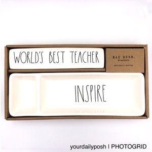 Rae Dunn World's Best Teacher desk tray gift set